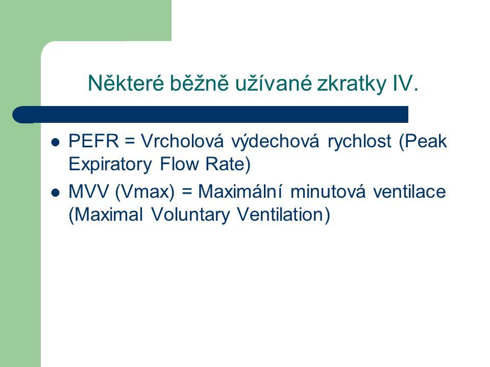 Některé běžně užívané zkratky IV. PEFR = Vrcholová výdechová rychlost (Peak Expiratory Flow Rate) MVV (Vmax) = Maximální minutová ventilace (Maximal V