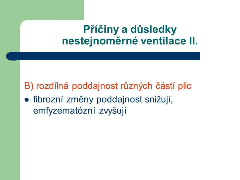 Příčiny a důsledky nestejnoměrné ventilace II. B) rozdílná poddajnost různých částí plic fibrozní změny poddajnost snižují, emfyzematózní zvyšují