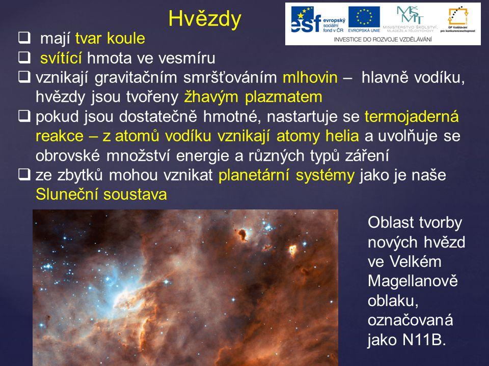 Hvězdy  mají tvar koule  svítící hmota ve vesmíru  vznikají gravitačním smršťováním mlhovin – hlavně vodíku, hvězdy jsou tvořeny žhavým plazmatem  pokud jsou dostatečně hmotné, nastartuje se termojaderná reakce – z atomů vodíku vznikají atomy helia a uvolňuje se obrovské množství energie a různých typů záření  ze zbytků mohou vznikat planetární systémy jako je naše Sluneční soustava Oblast tvorby nových hvězd ve Velkém Magellanově oblaku, označovaná jako N11B.