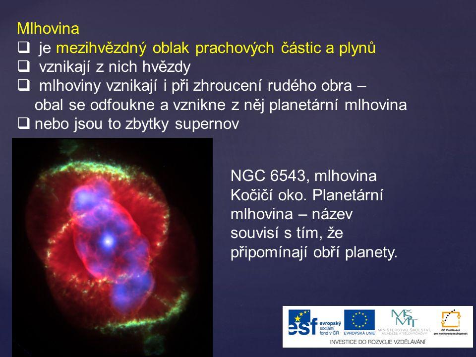 Mlhovina  je mezihvězdný oblak prachových částic a plynů  vznikají z nich hvězdy  mlhoviny vznikají i při zhroucení rudého obra – obal se odfoukne a vznikne z něj planetární mlhovina  nebo jsou to zbytky supernov NGC 6543, mlhovina Kočičí oko.