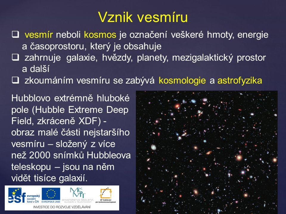 Vznik vesmíru  vesmír neboli kosmos je označení veškeré hmoty, energie a časoprostoru, který je obsahuje  zahrnuje galaxie, hvězdy, planety, mezigalaktický prostor a další  zkoumáním vesmíru se zabývá kosmologie a astrofyzika Hubblovo extrémně hluboké pole (Hubble Extreme Deep Field, zkráceně XDF) - obraz malé části nejstaršího vesmíru – složený z více než 2000 snímků Hubbleova teleskopu – jsou na něm vidět tisíce galaxií.