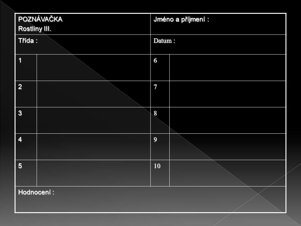 1.Jaterník trojlaločný 2.Blatouch bahenní 3.Mák vlčí 4.Vlaštovičník větší 5.Jmelí bílé 6.Kakost smrdutý 7.Krkavec toten 8.Kontryhel 9.Mochna husí 10.Chmel otáčivý