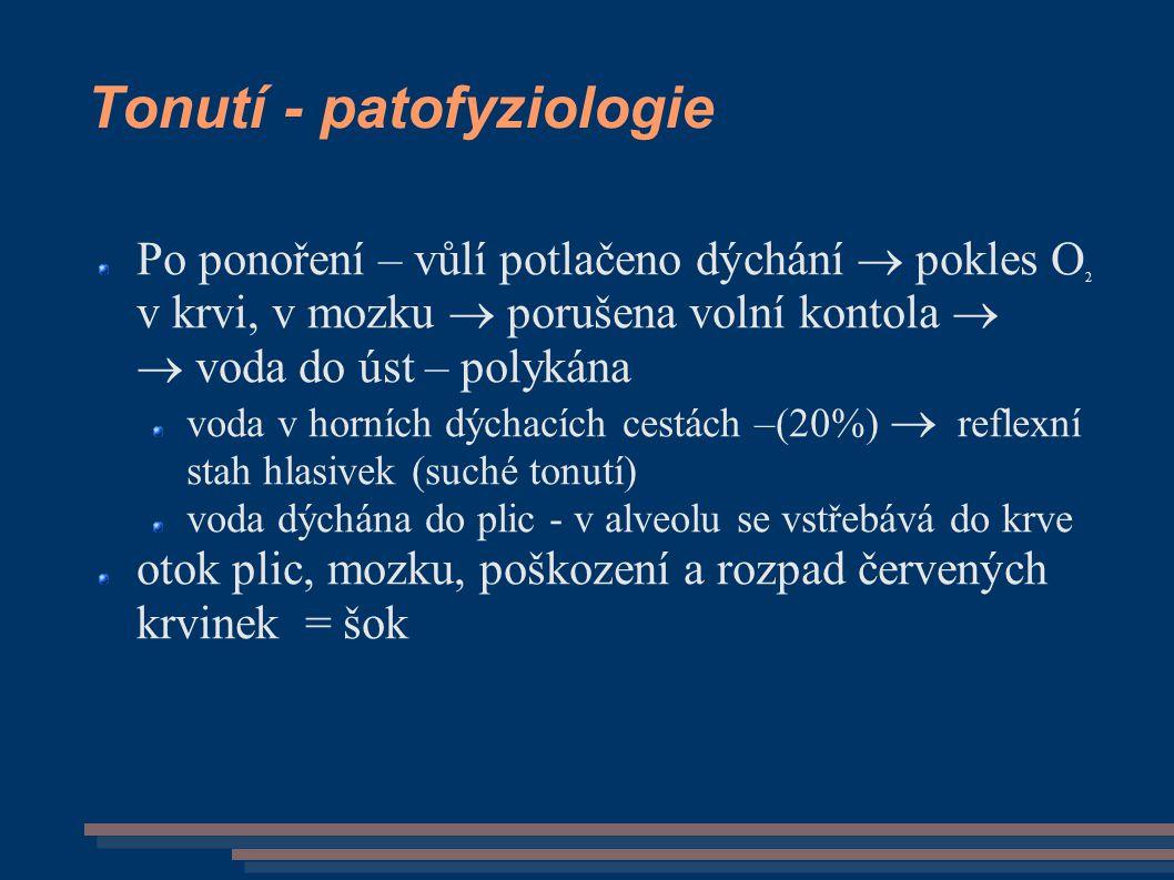 Tonutí - patofyziologie Po ponoření – vůlí potlačeno dýchání  pokles O 2 v krvi, v mozku  porušena volní kontola   voda do úst – polykána voda v