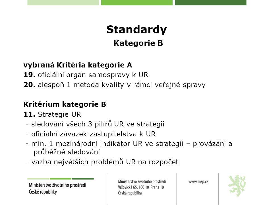 Standardy Kategorie B vybraná Kritéria kategorie A 19.