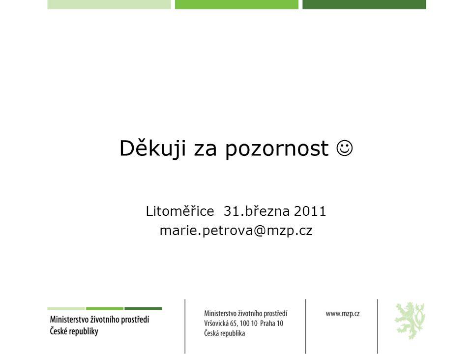 Děkuji za pozornost Litoměřice 31.března 2011 marie.petrova@mzp.cz