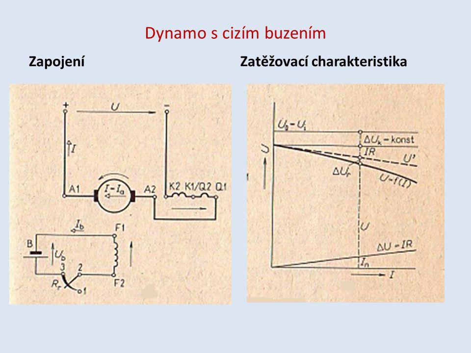 Dynamo s cizím buzením ZapojeníZatěžovací charakteristika