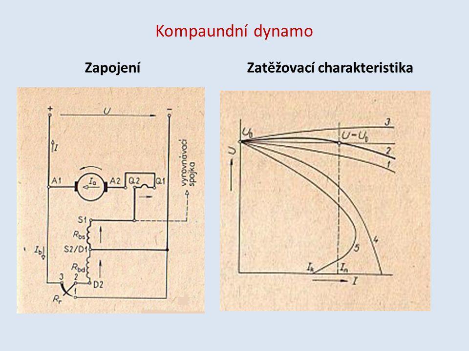 Kompaundní dynamo ZapojeníZatěžovací charakteristika