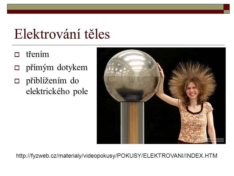 Elektrování těles  třením  přímým dotykem  přiblížením do elektrického pole http://fyzweb.cz/materialy/videopokusy/POKUSY/ELEKTROVANI/INDEX.HTM
