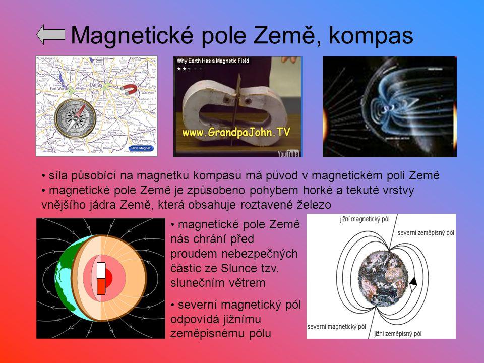Magnetické pole Země, kompas síla působící na magnetku kompasu má původ v magnetickém poli Země magnetické pole Země je způsobeno pohybem horké a teku