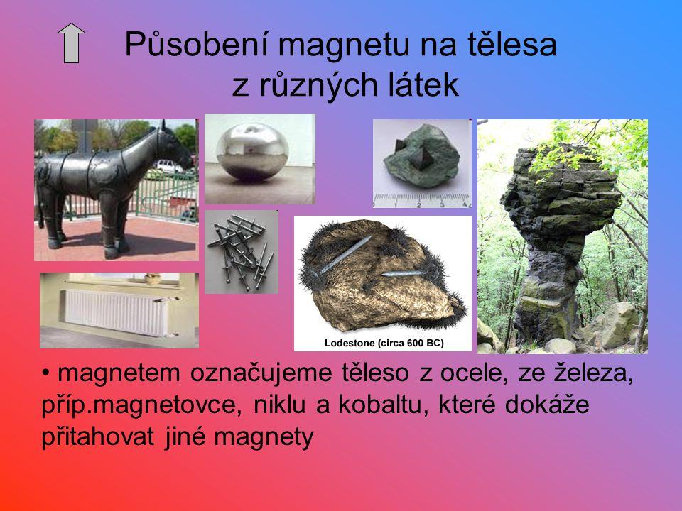 magnetem označujeme těleso z ocele, ze železa, příp.magnetovce, niklu a kobaltu, které dokáže přitahovat jiné magnety