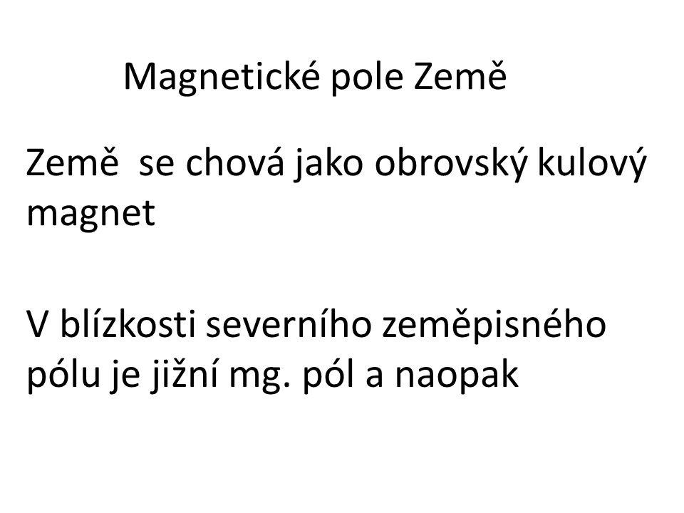 Země se chová jako obrovský kulový magnet Magnetické pole Země V blízkosti severního zeměpisného pólu je jižní mg. pól a naopak
