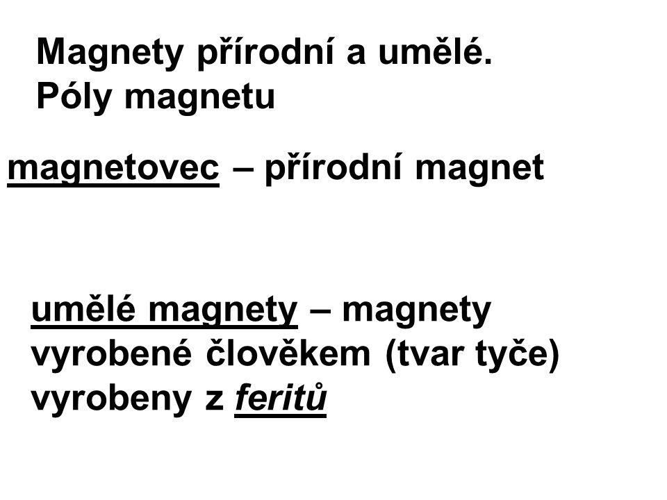 magnetovec – přírodní magnet umělé magnety – magnety vyrobené člověkem (tvar tyče) vyrobeny z feritů Magnety přírodní a umělé. Póly magnetu