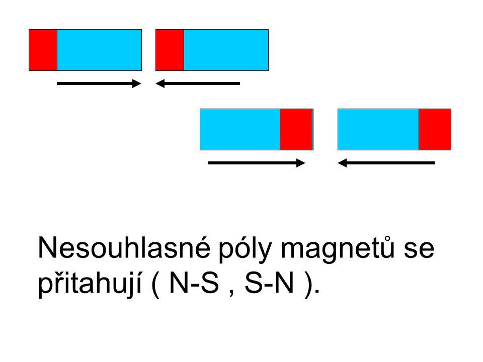Nesouhlasné póly magnetů se přitahují ( N-S, S-N ).