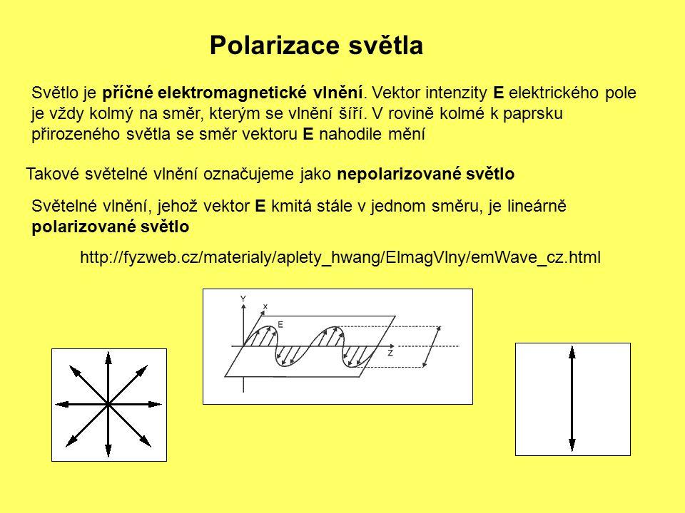 Polarizace světla Světlo je příčné elektromagnetické vlnění.
