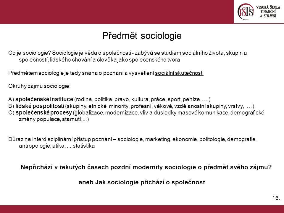 16.Předmět sociologie Co je sociologie.