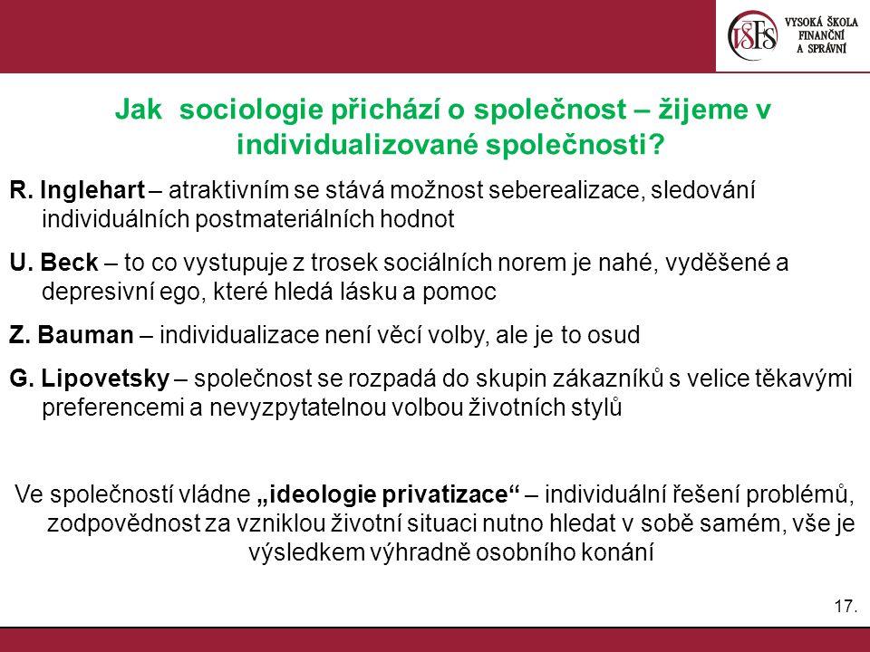 17.Jak sociologie přichází o společnost – žijeme v individualizované společnosti.