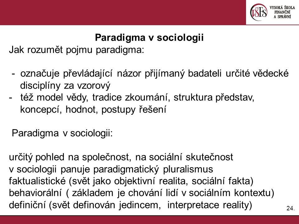 24. Paradigma v sociologii Jak rozumět pojmu paradigma: - označuje převládající názor přijímaný badateli určité vědecké disciplíny za vzorový - též mo