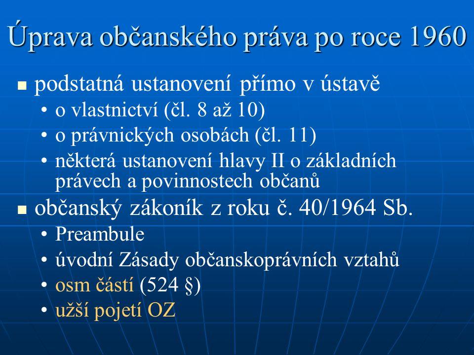 Úprava občanského práva po roce 1960 podstatná ustanovení přímo v ústavě o vlastnictví (čl. 8 až 10) o právnických osobách (čl. 11) některá ustanovení
