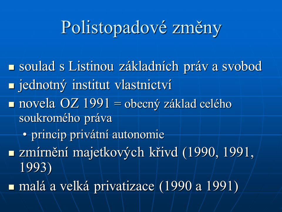 Polistopadové změny soulad s Listinou základních práv a svobod soulad s Listinou základních práv a svobod jednotný institut vlastnictví jednotný insti