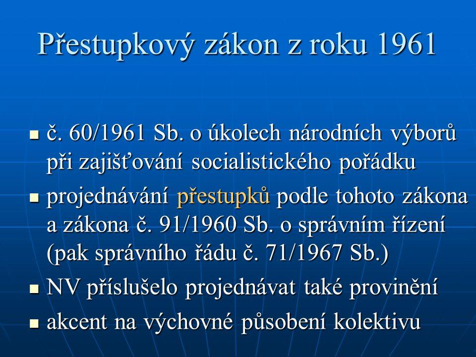 Přestupkový zákon z roku 1961 č. 60/1961 Sb. o úkolech národních výborů při zajišťování socialistického pořádku č. 60/1961 Sb. o úkolech národních výb