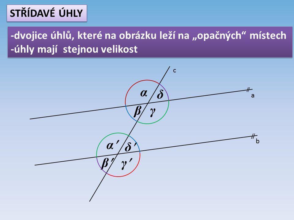 """a b c  α β γ δ α β γ δ STŘÍDAVÉ ÚHLY -dvojice úhlů, které na obrázku leží na """"opačných místech -úhly mají stejnou velikost -dvojice úhlů, které na obrázku leží na """"opačných místech -úhly mají stejnou velikost"""