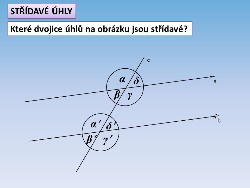 a b c  α β γ δ α β γ δ STŘÍDAVÉ ÚHLY Které dvojice úhlů na obrázku jsou střídavé?