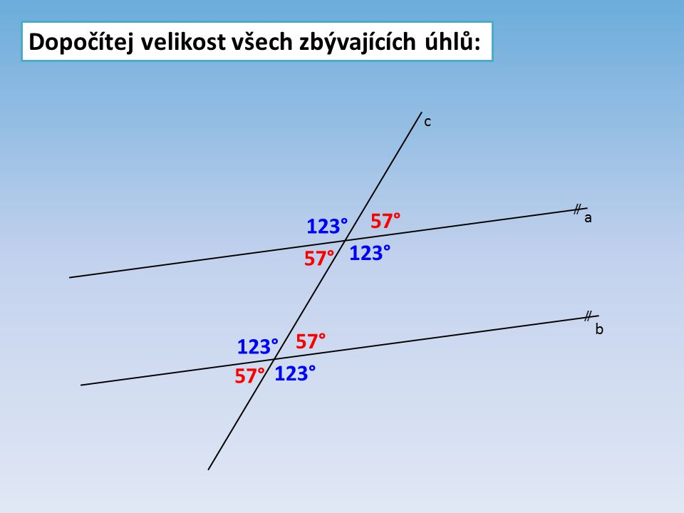 Dopočítej velikost všech zbývajících úhlů:  a b c 57° 123°
