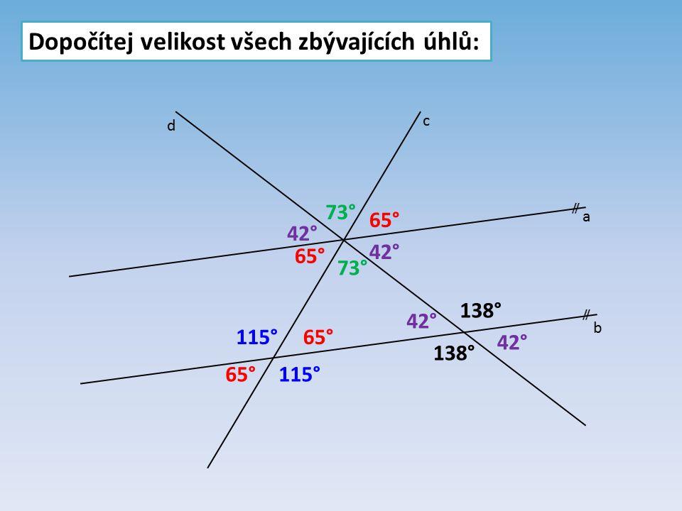 Dopočítej velikost všech zbývajících úhlů:  a b c 65° 42° 138° 65° 138° 42° 73° 115° d