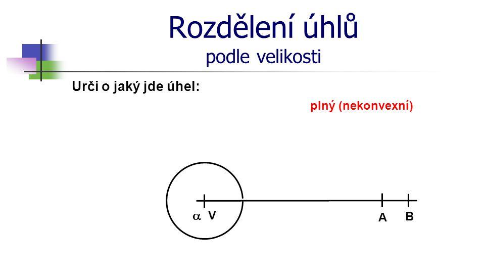 Rozdělení úhlů podle velikosti Urči o jaký jde úhel: V A B  plný (nekonvexní)