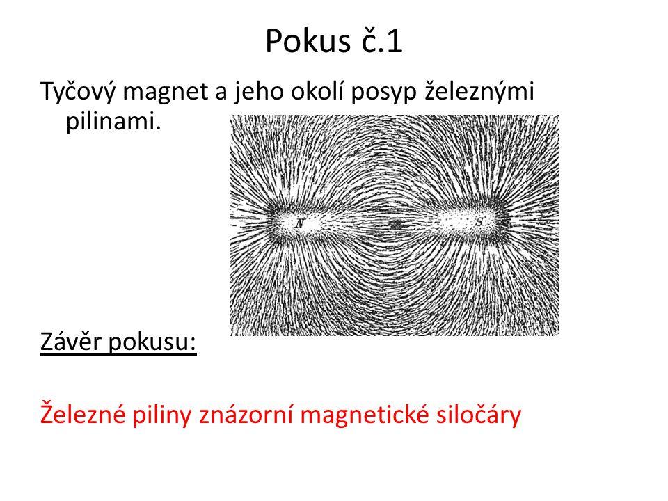 Pokus č.1 Tyčový magnet a jeho okolí posyp železnými pilinami.
