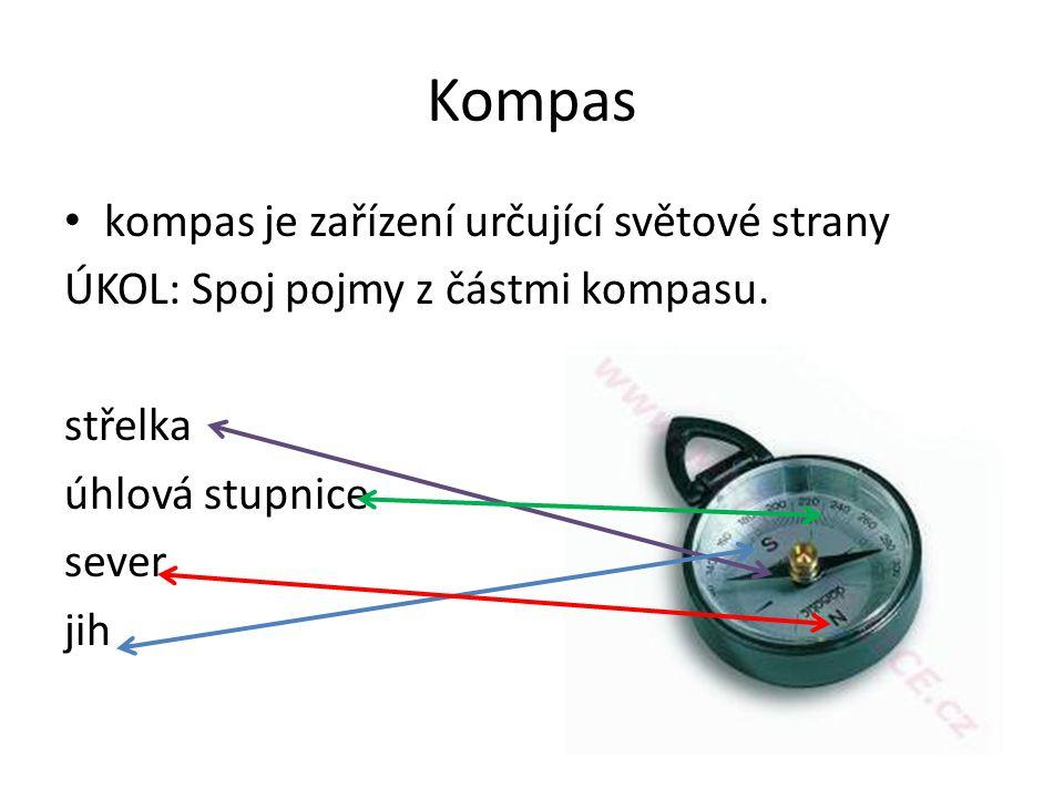 Kompas kompas je zařízení určující světové strany ÚKOL: Spoj pojmy z částmi kompasu.