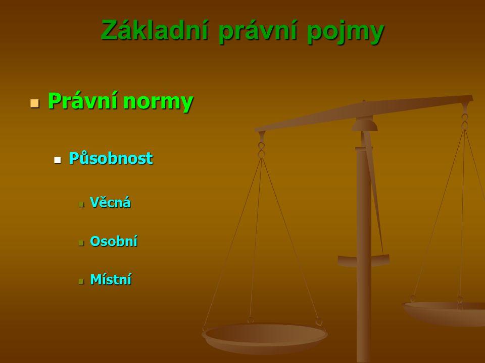 Základní právní pojmy Právní normy Právní normy Působnost Působnost Věcná Věcná Osobní Osobní Místní Místní