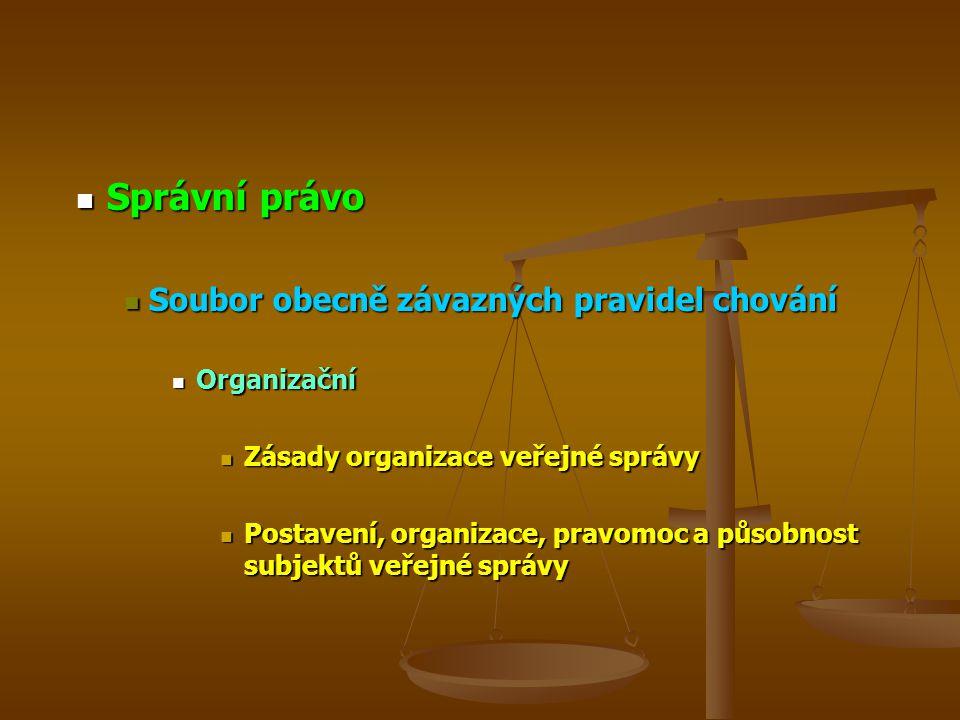 Správní právo Správní právo Soubor obecně závazných pravidel chování Soubor obecně závazných pravidel chování Organizační Organizační Zásady organizac