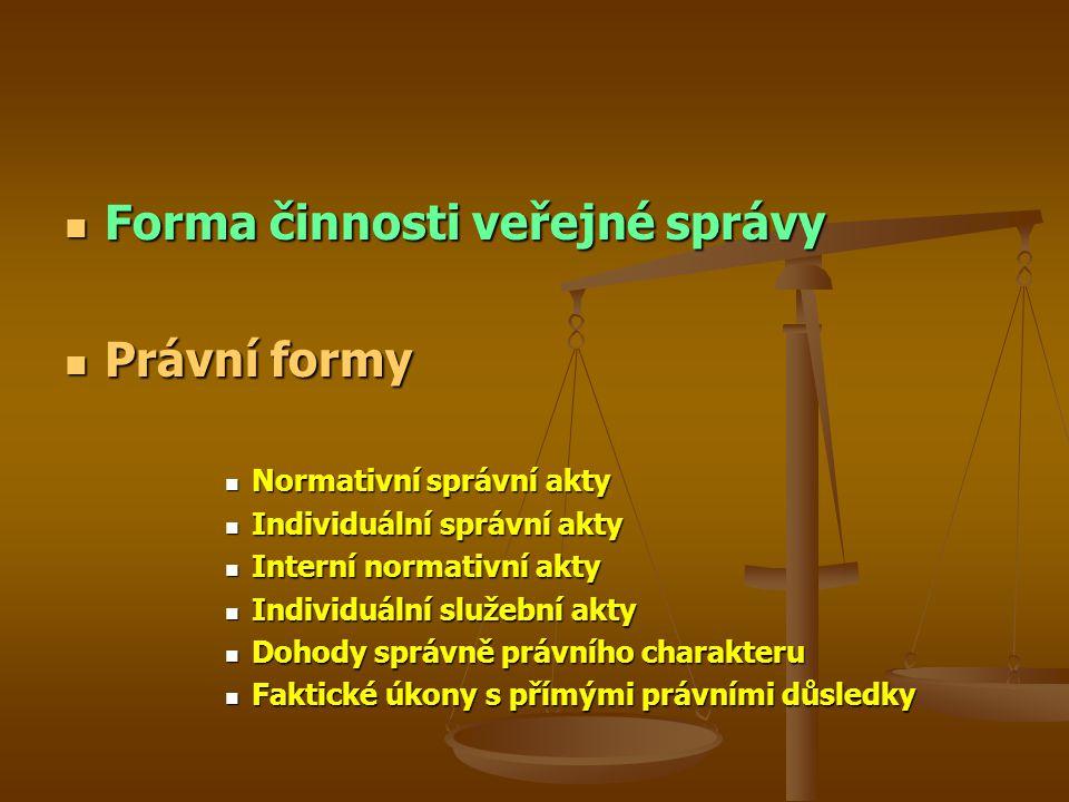 Forma činnosti veřejné správy Forma činnosti veřejné správy Právní formy Právní formy Normativní správní akty Normativní správní akty Individuální spr
