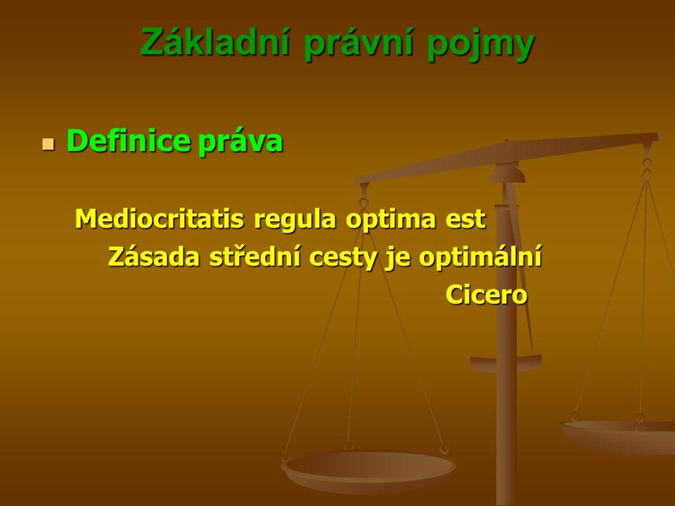 Základní právní pojmy Definice práva Definice práva Mediocritatis regula optima est Zásada střední cesty je optimální Cicero