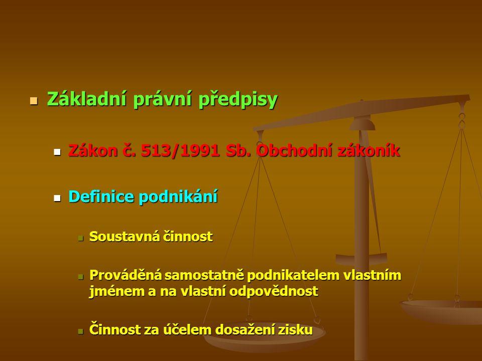 Základní právní předpisy Základní právní předpisy Zákon č. 513/1991 Sb. Obchodní zákoník Zákon č. 513/1991 Sb. Obchodní zákoník Definice podnikání Def