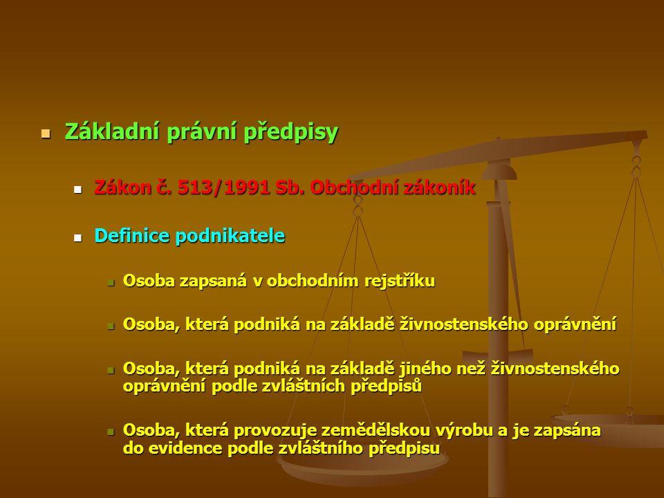 Základní právní předpisy Základní právní předpisy Zákon č. 513/1991 Sb. Obchodní zákoník Zákon č. 513/1991 Sb. Obchodní zákoník Definice podnikatele D