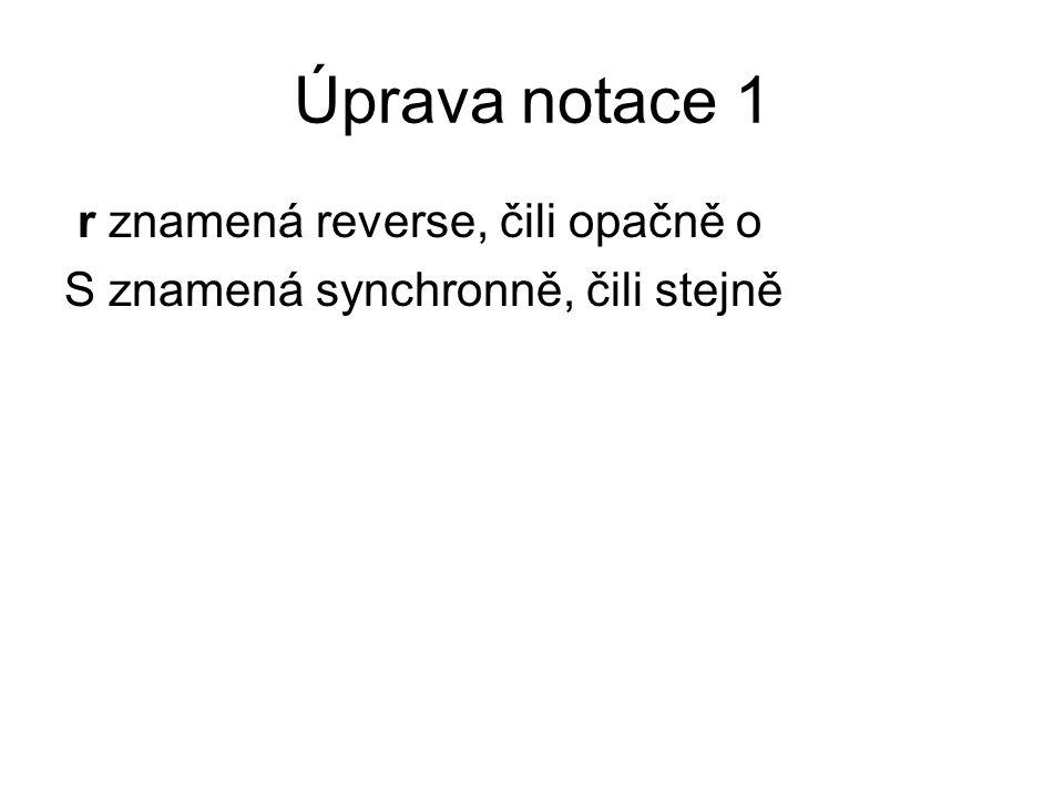 Úprava notace 1 r znamená reverse, čili opačně o S znamená synchronně, čili stejně