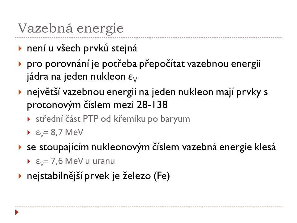 Vazebná energie  není u všech prvků stejná  pro porovnání je potřeba přepočítat vazebnou energii jádra na jeden nukleon ε V  největší vazebnou ener