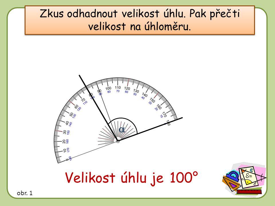 Zkus odhadnout velikost úhlu. Pak přečti velikost na úhloměru.  Velikost úhlu je …… 100° obr. 1
