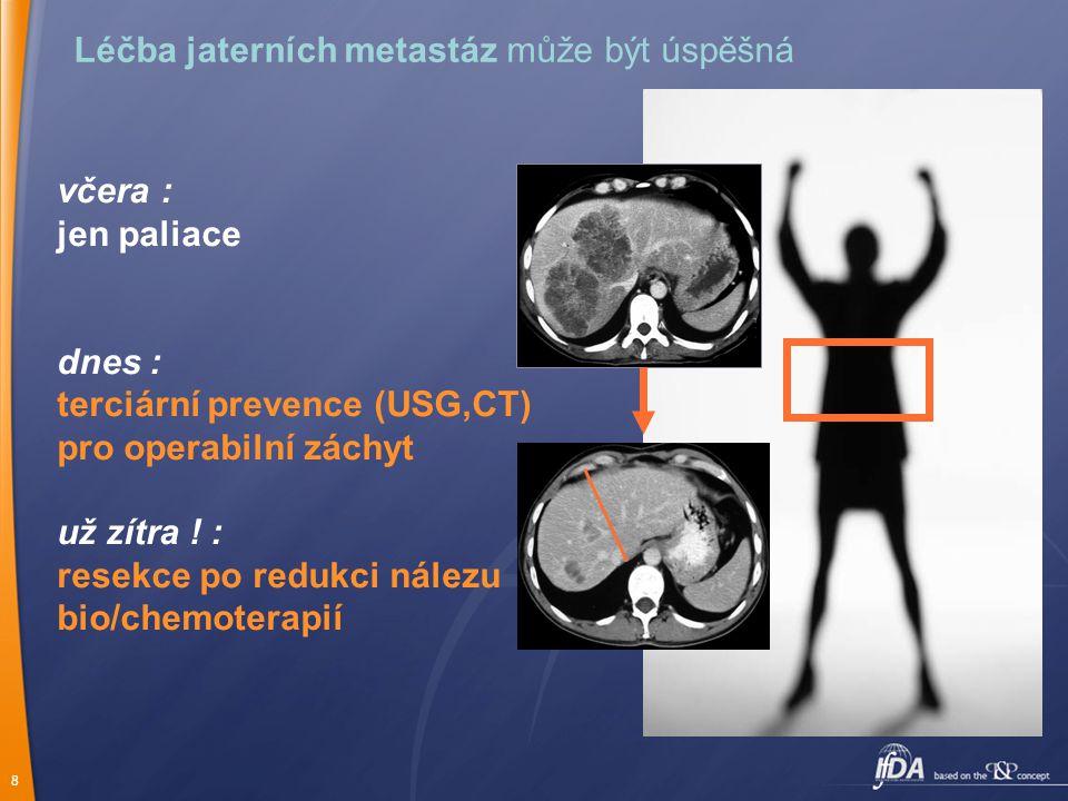 8 Léčba jaterních metastáz může být úspěšná včera : jen paliace dnes : terciární prevence (USG,CT) pro operabilní záchyt už zítra .