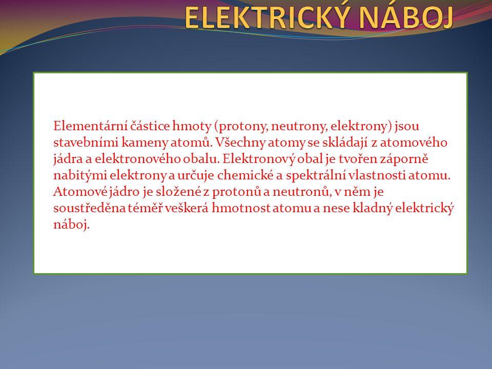 Elementární částice hmoty (protony, neutrony, elektrony) jsou stavebními kameny atomů. Všechny atomy se skládají z atomového jádra a elektronového oba