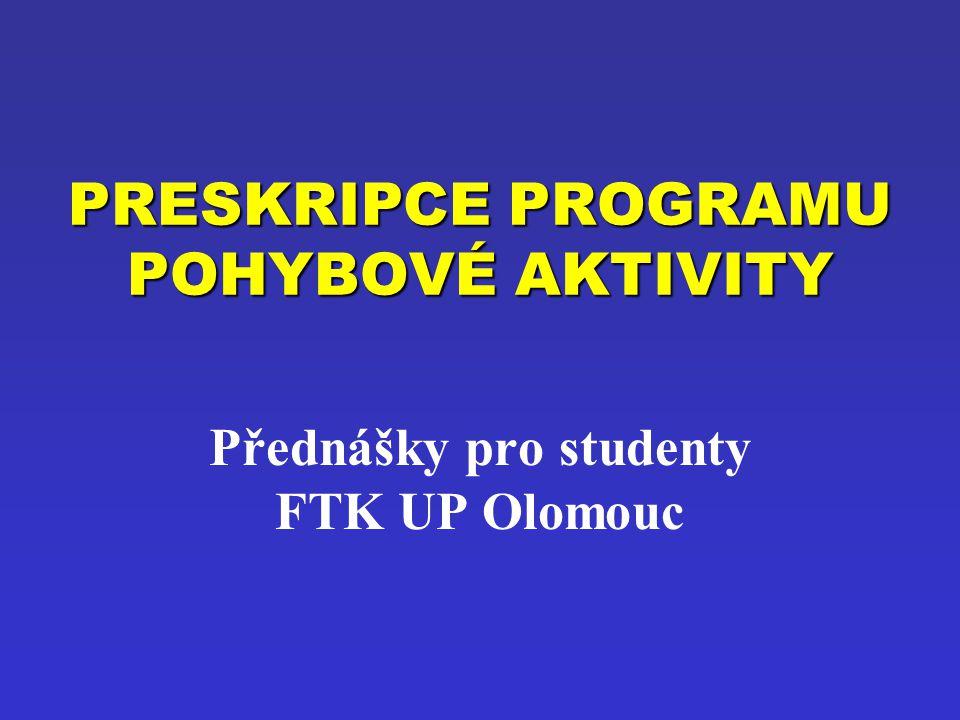 PRESKRIPCE PROGRAMU POHYBOVÉ AKTIVITY Přednášky pro studenty FTK UP Olomouc