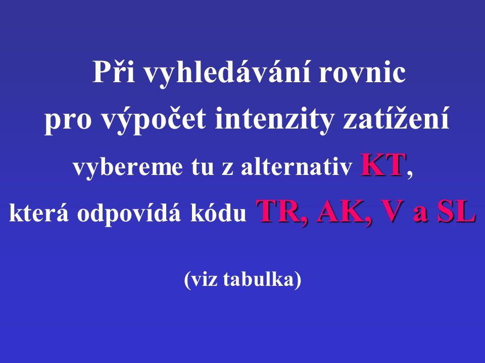 Při vyhledávání rovnic pro výpočet intenzity zatížení vybereme tu z alternativ KT KT, která odpovídá kódu TR, AK, V a SL (viz tabulka)