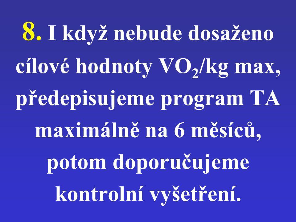 8. I když nebude dosaženo cílové hodnoty VO 2 /kg max, předepisujeme program TA maximálně na 6 měsíců, potom doporučujeme kontrolní vyšetření.