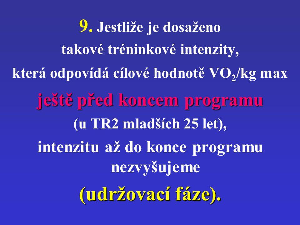 9. Jestliže je dosaženo takové tréninkové intenzity, která odpovídá cílové hodnotě VO 2 /kg max ještě před koncem programu (u TR2 mladších 25 let), in