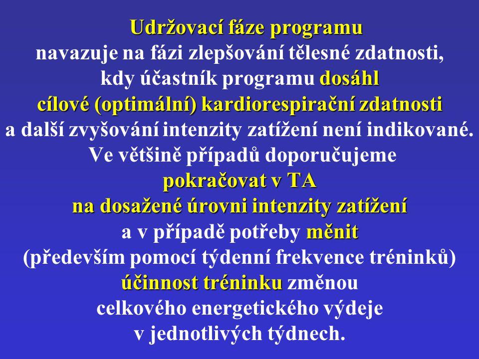 Udržovací fáze programu navazuje na fázi zlepšování tělesné zdatnosti, dosáhl kdy účastník programu dosáhl cílové (optimální) kardiorespirační zdatnos