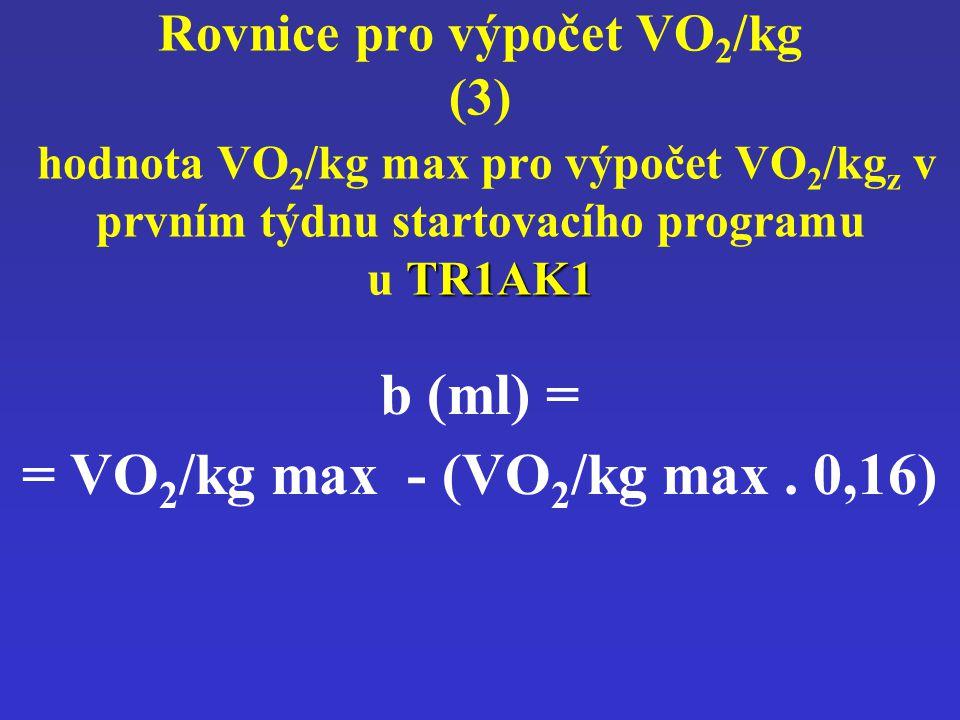 TR1AK1 Rovnice pro výpočet VO 2 /kg (3) hodnota VO 2 /kg max pro výpočet VO 2 /kg z v prvním týdnu startovacího programu u TR1AK1 b (ml) = = VO 2 /kg