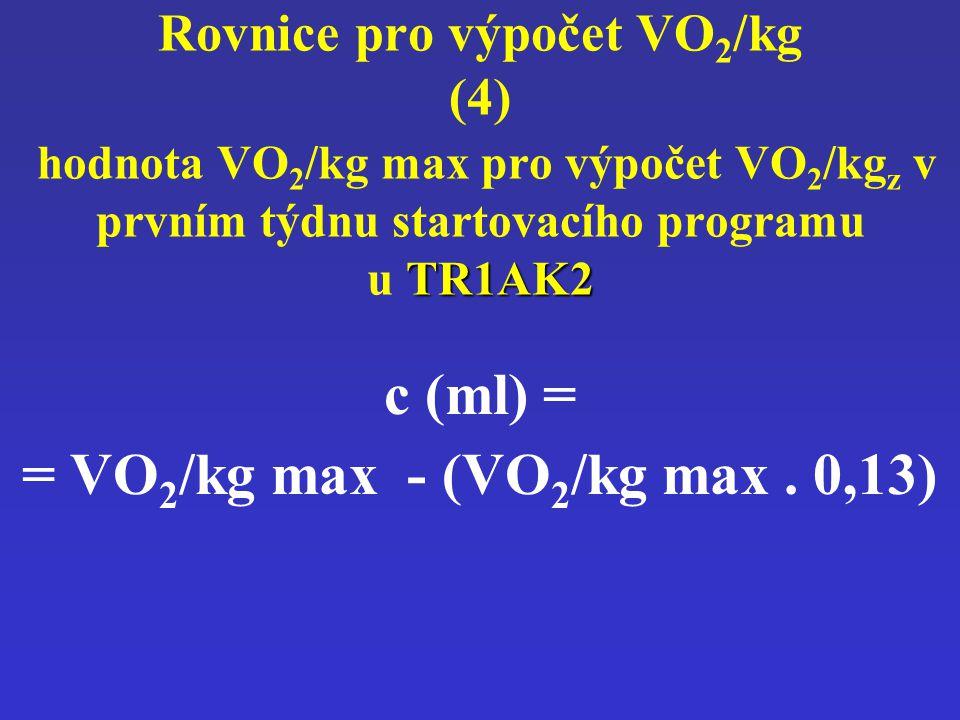 TR1AK2 Rovnice pro výpočet VO 2 /kg (4) hodnota VO 2 /kg max pro výpočet VO 2 /kg z v prvním týdnu startovacího programu u TR1AK2 c (ml) = = VO 2 /kg