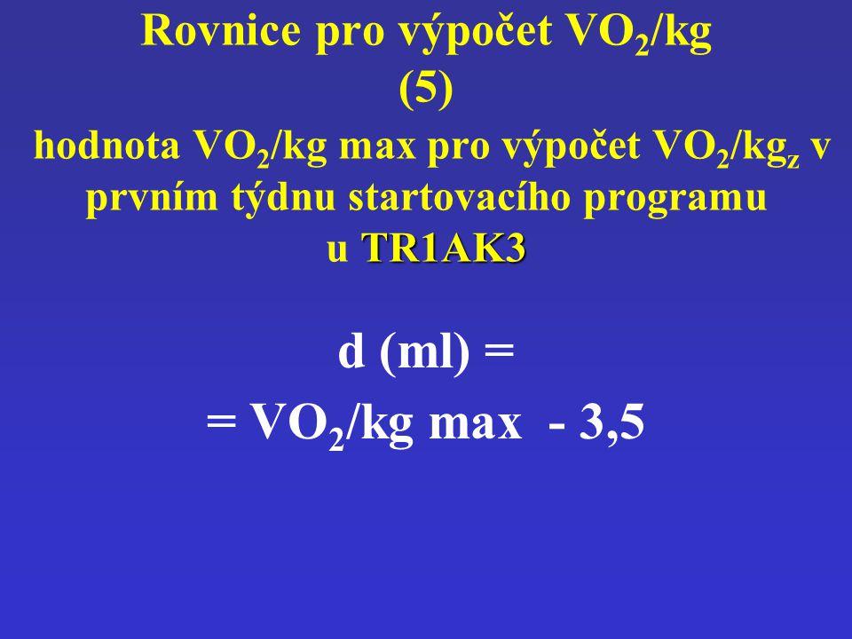 TR1AK3 Rovnice pro výpočet VO 2 /kg (5) hodnota VO 2 /kg max pro výpočet VO 2 /kg z v prvním týdnu startovacího programu u TR1AK3 d (ml) = = VO 2 /kg